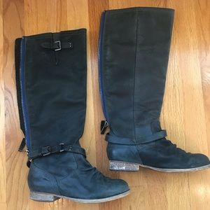 Steve Madden Roady leather boots blue zipper tall